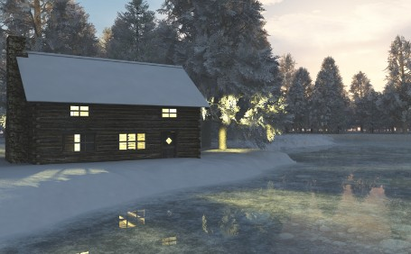 A rendered scene of a lit log cabin on the edge of a frozen river, just as the sun is rising.